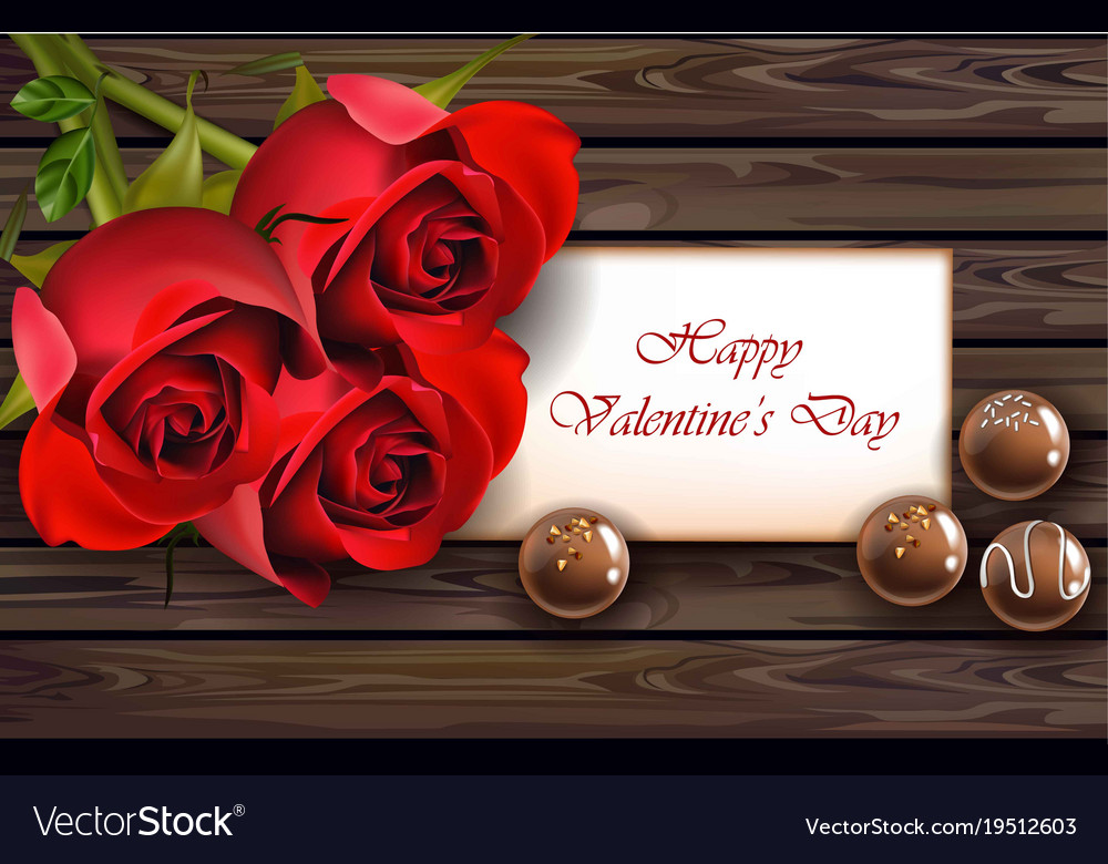 Happy Valentine Day Card With Red Roses Realistic Vector Image On Vectorstock