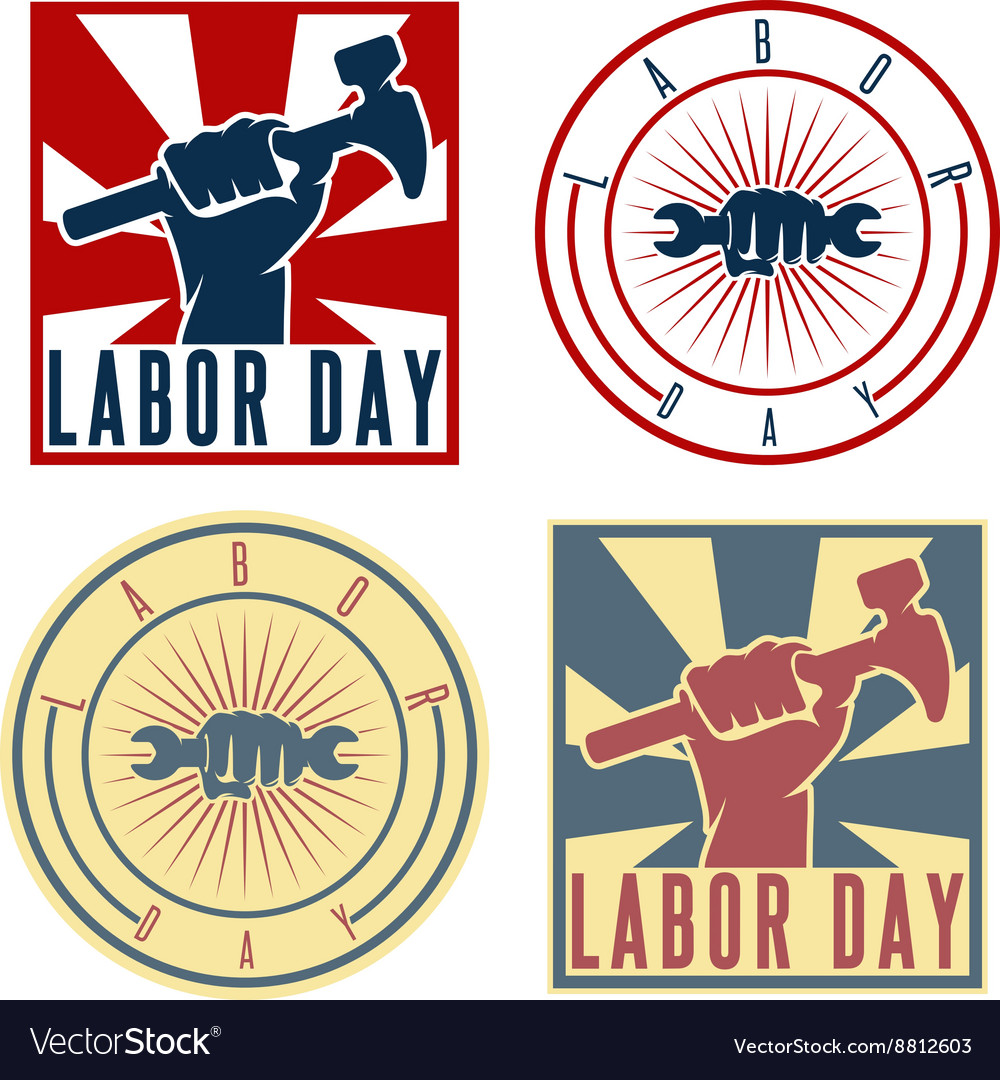 Labor Day labels with the hand of worker holding