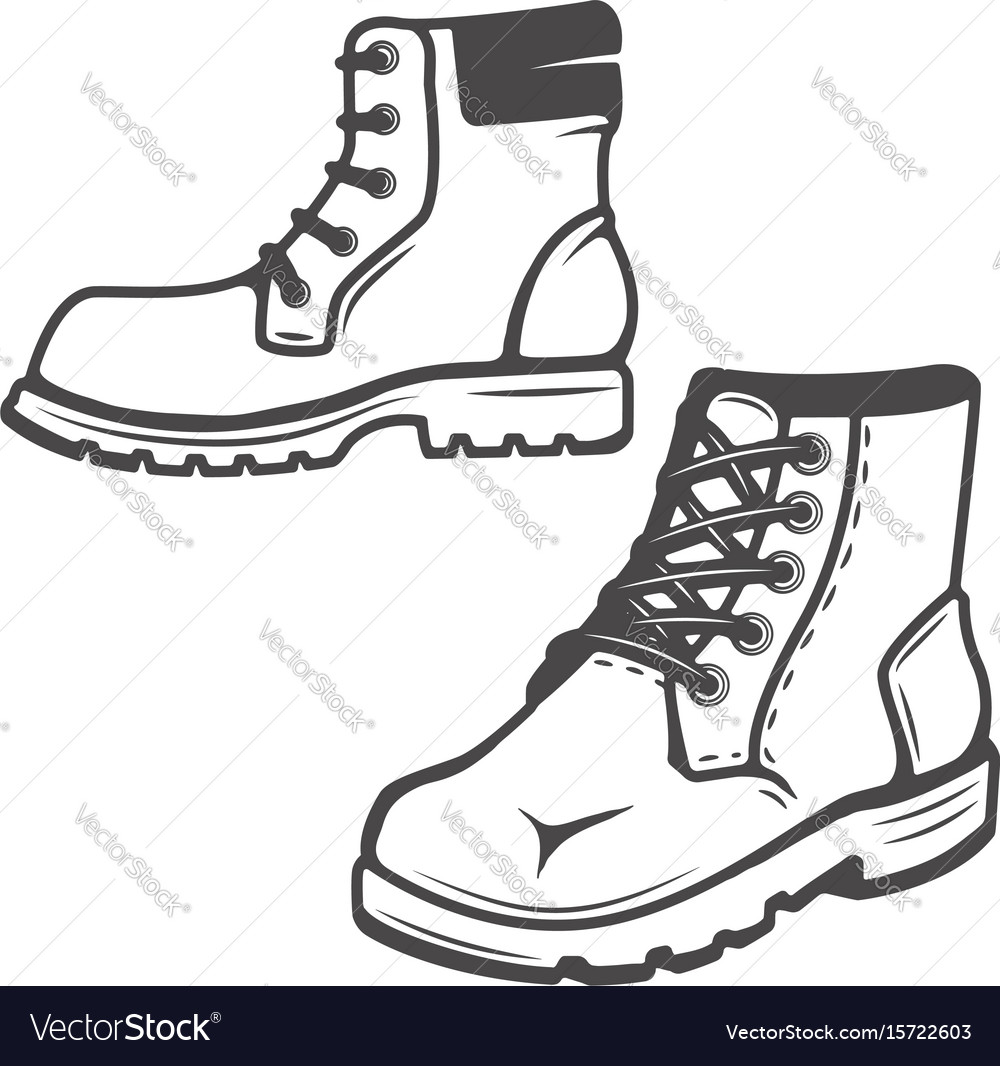 Set of the boots icons isolated on white