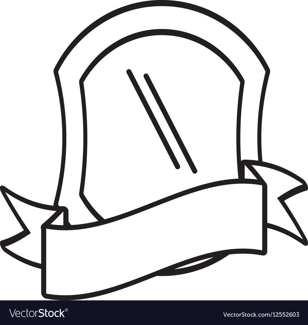 Shield protection emblem outline empty vector image