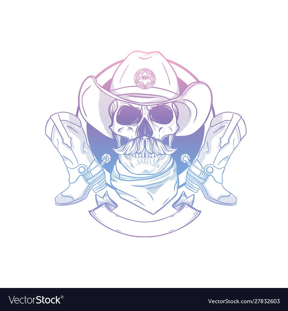 Sketch skull with cowboy hat