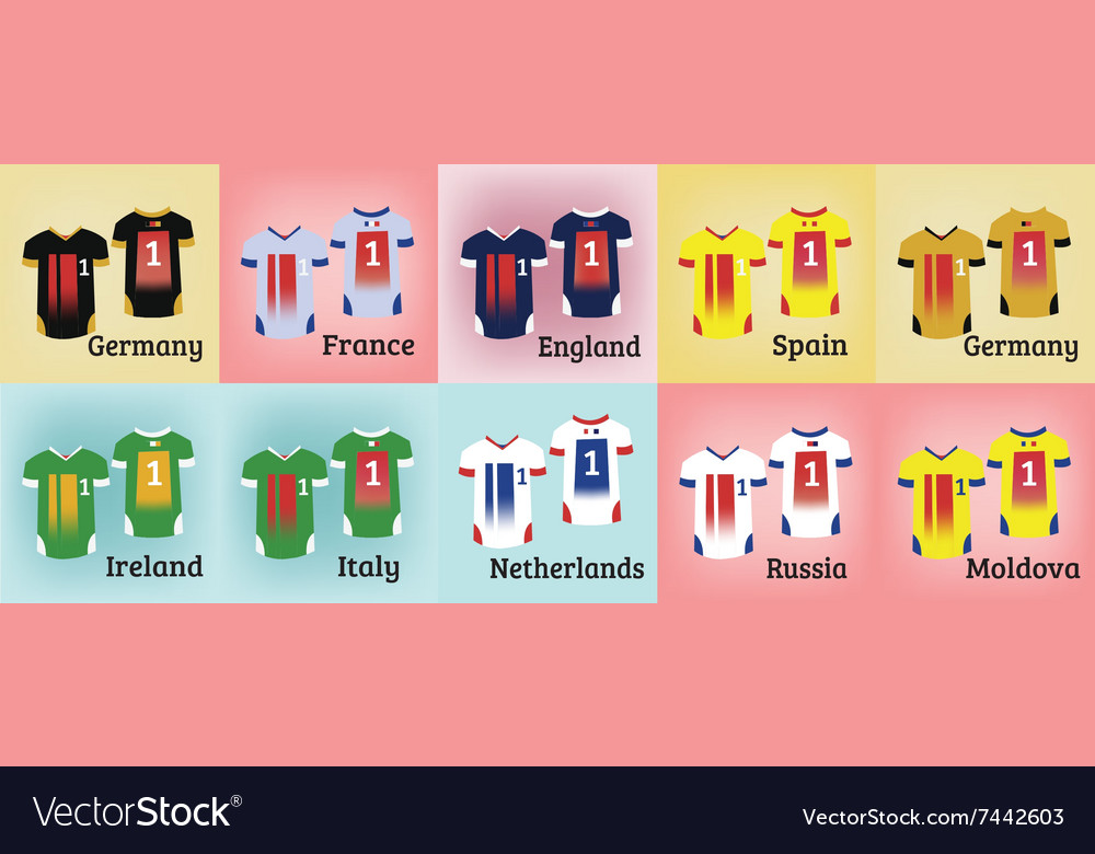 6fca681dc Soccer Teams Uniforms Set Royalty Free Vector Image