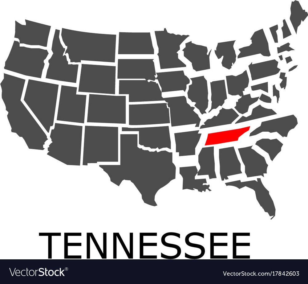 State of tennessee on map of usa Royalty Free Vector Image