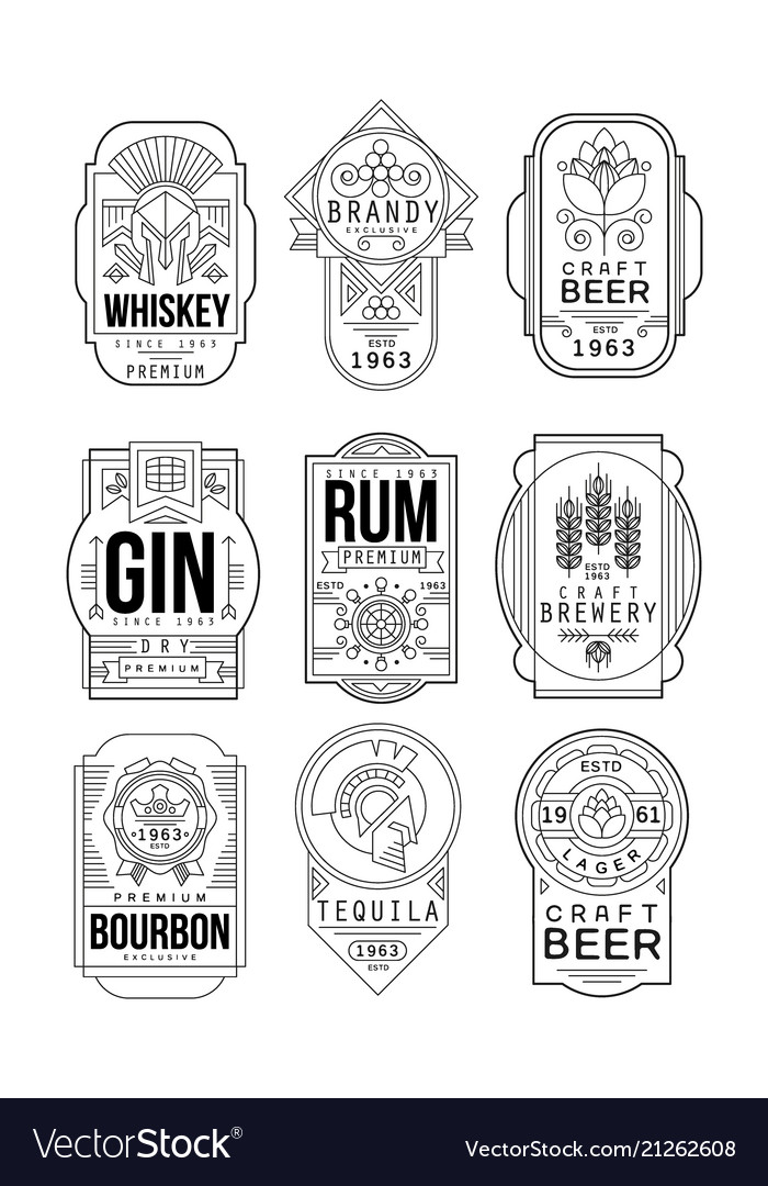 Alcohol labels set retro alcohol industry vector image