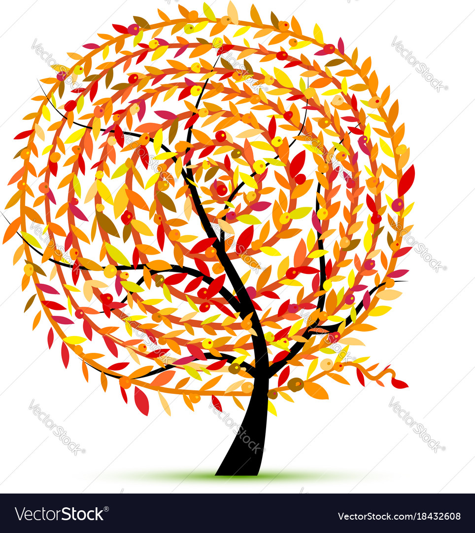 Art tree with leaf spiral ornament