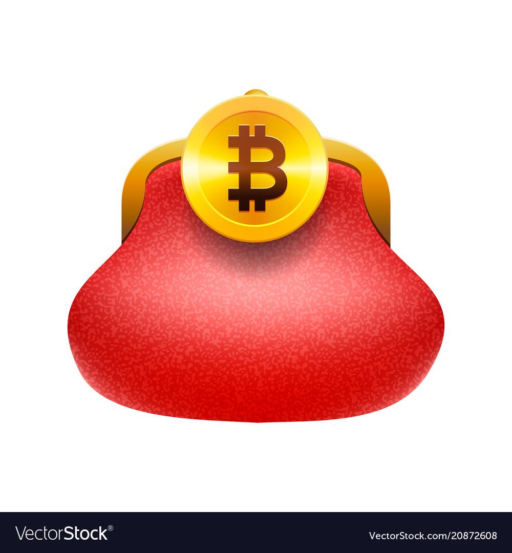Bitcoin wallet concept icon golden bitcoin coin