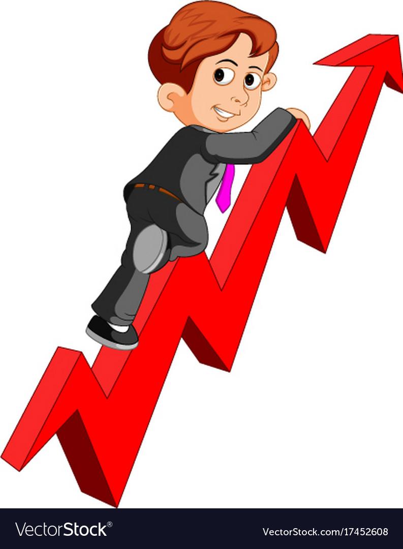 Businessman on arrow graph vector image