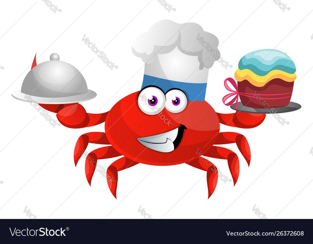 Awe Inspiring Crab With Birthday Cake On White Background Vector Image Funny Birthday Cards Online Necthendildamsfinfo