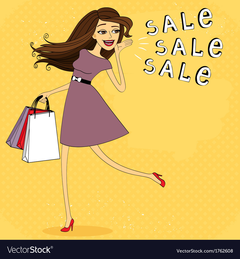 Fasion sale girl vector image