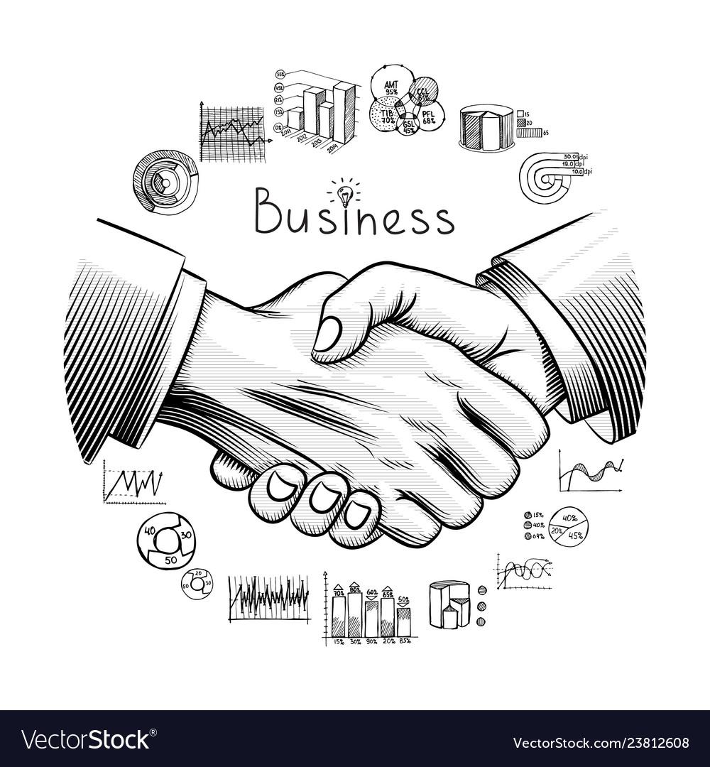 Hand drawn business partnership concept