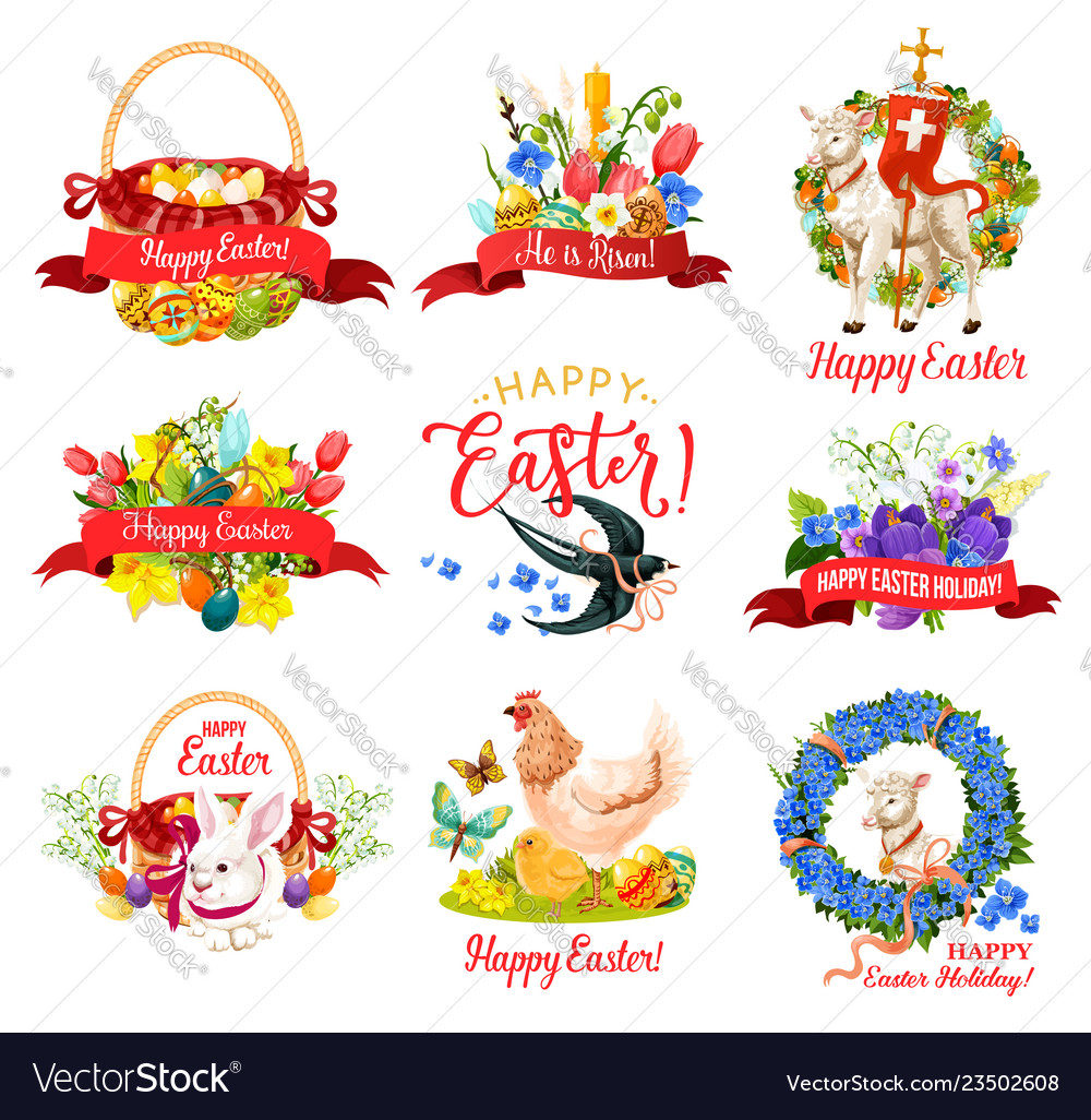 Happy easter holiday icon for greeting card design