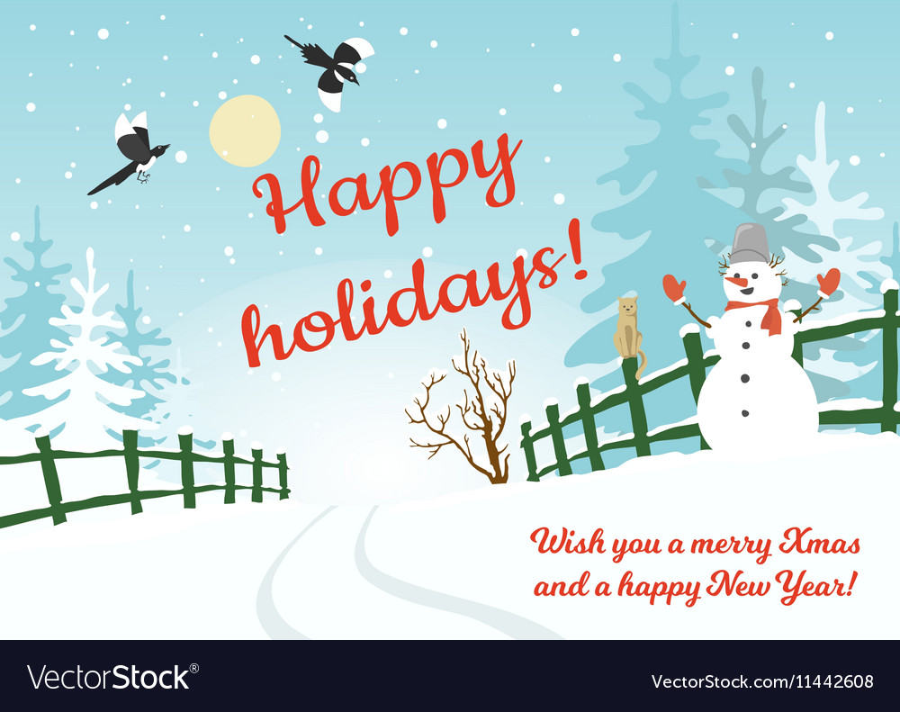 happy holidays card vector image - Happy Holidays Card
