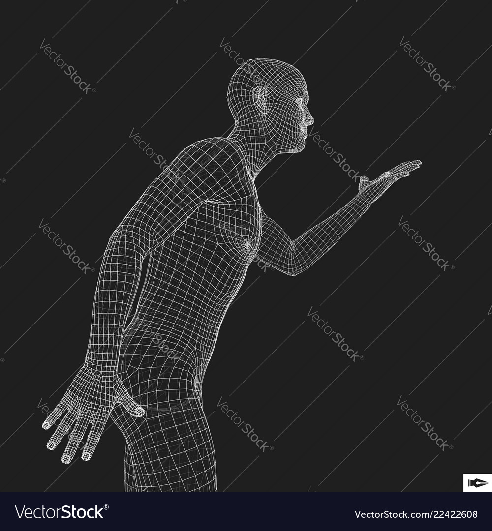 Man points to something by hand 3d model of man
