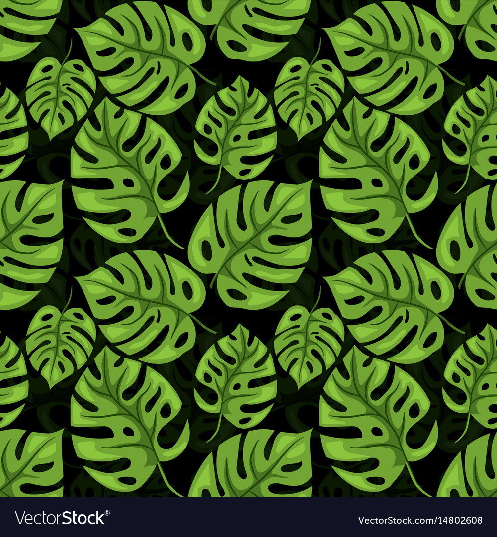 Monstera seamless beckground tiled jungle pattern