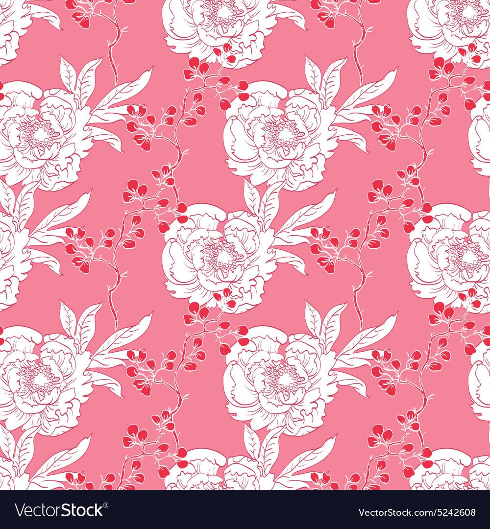 Pink Red Diagonal Oriental Peonies Seamless