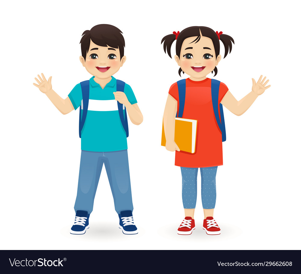School asian boy and girl