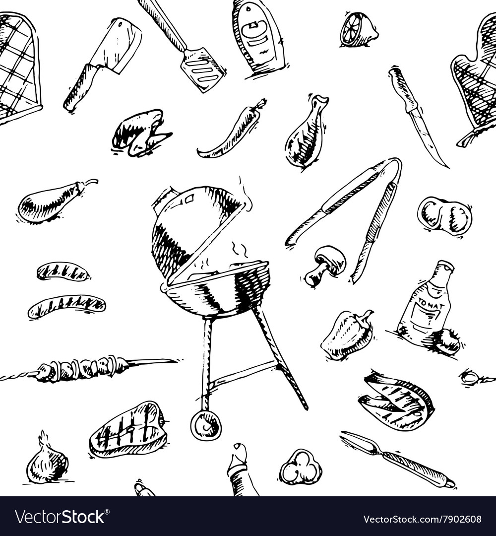 Seamless pattern of barbecue and grill elements vector image