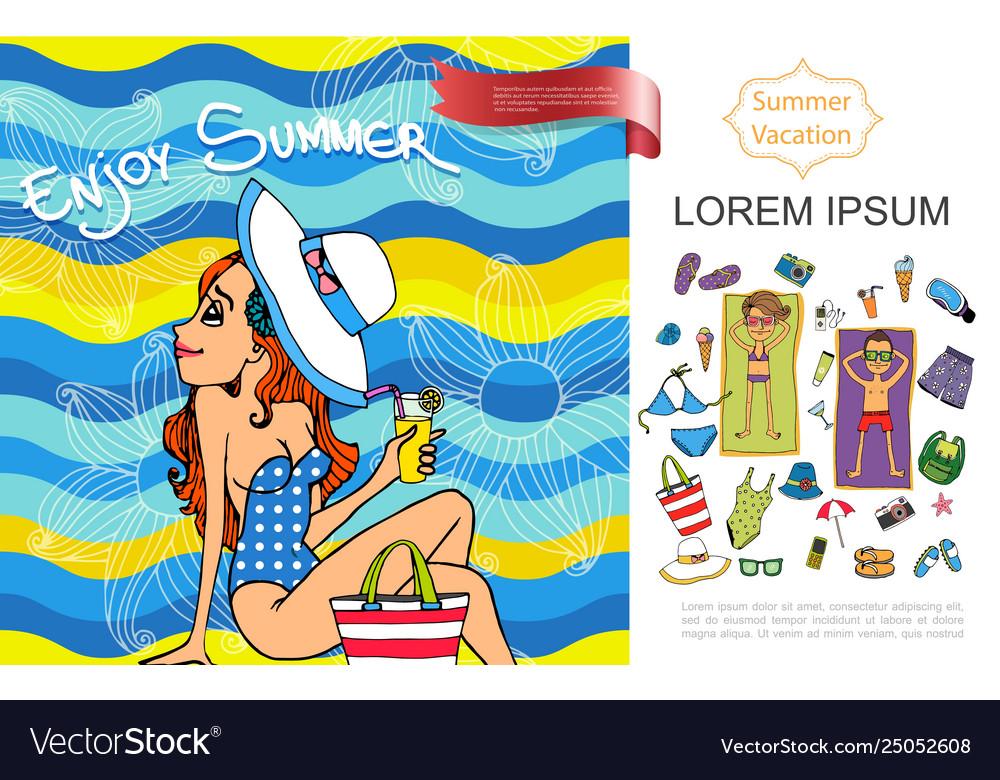 Sketch summer vacation concept
