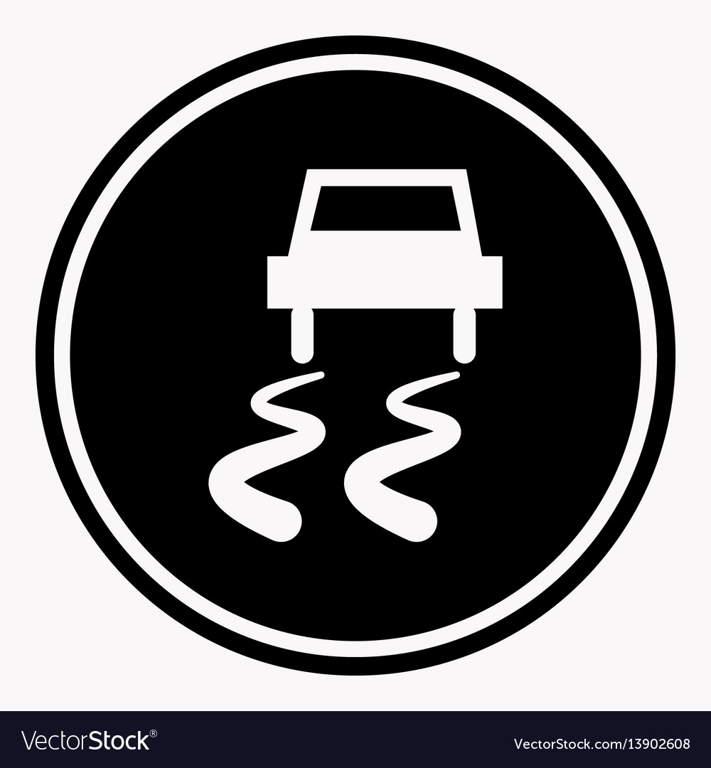 Slippery road warning sign car icy track vector image
