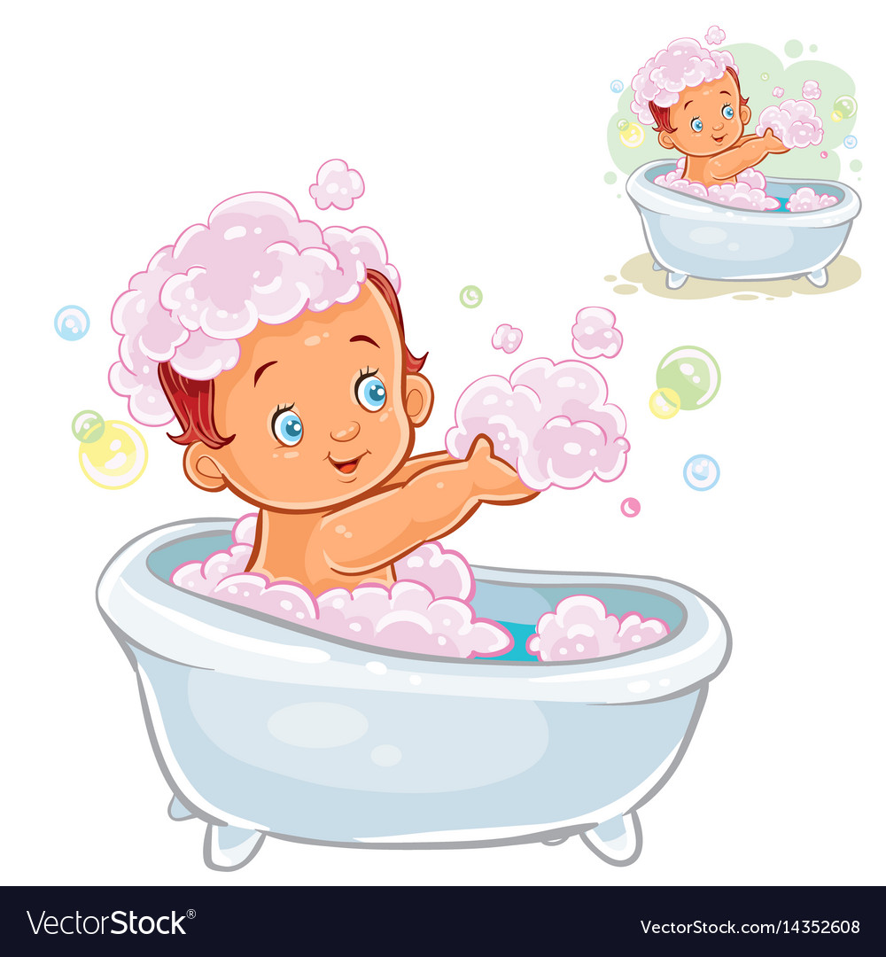 Small child take a bath with foam Royalty Free Vector Image