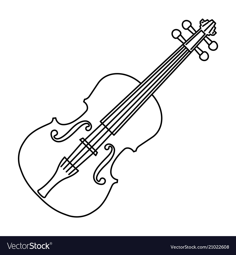 Violin of black contour curves on white