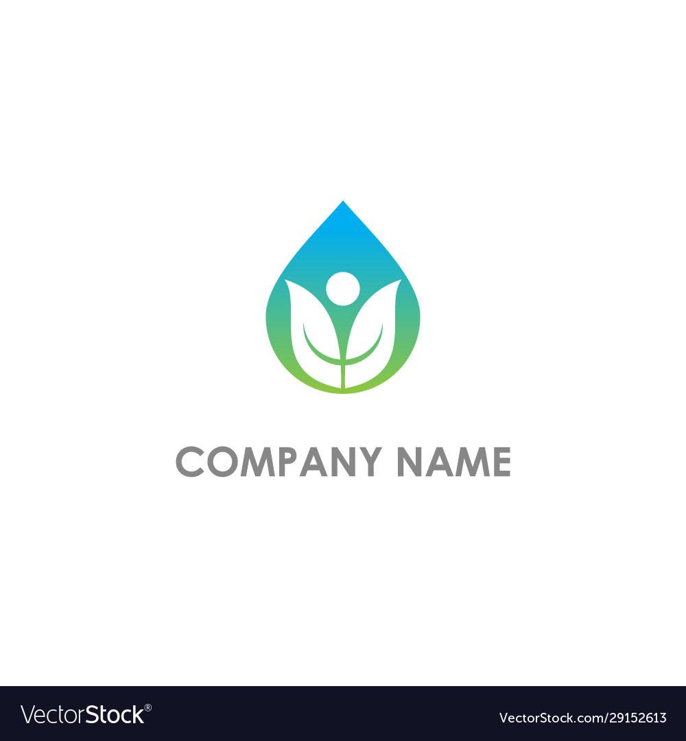 Droplet leaf organic nature logo
