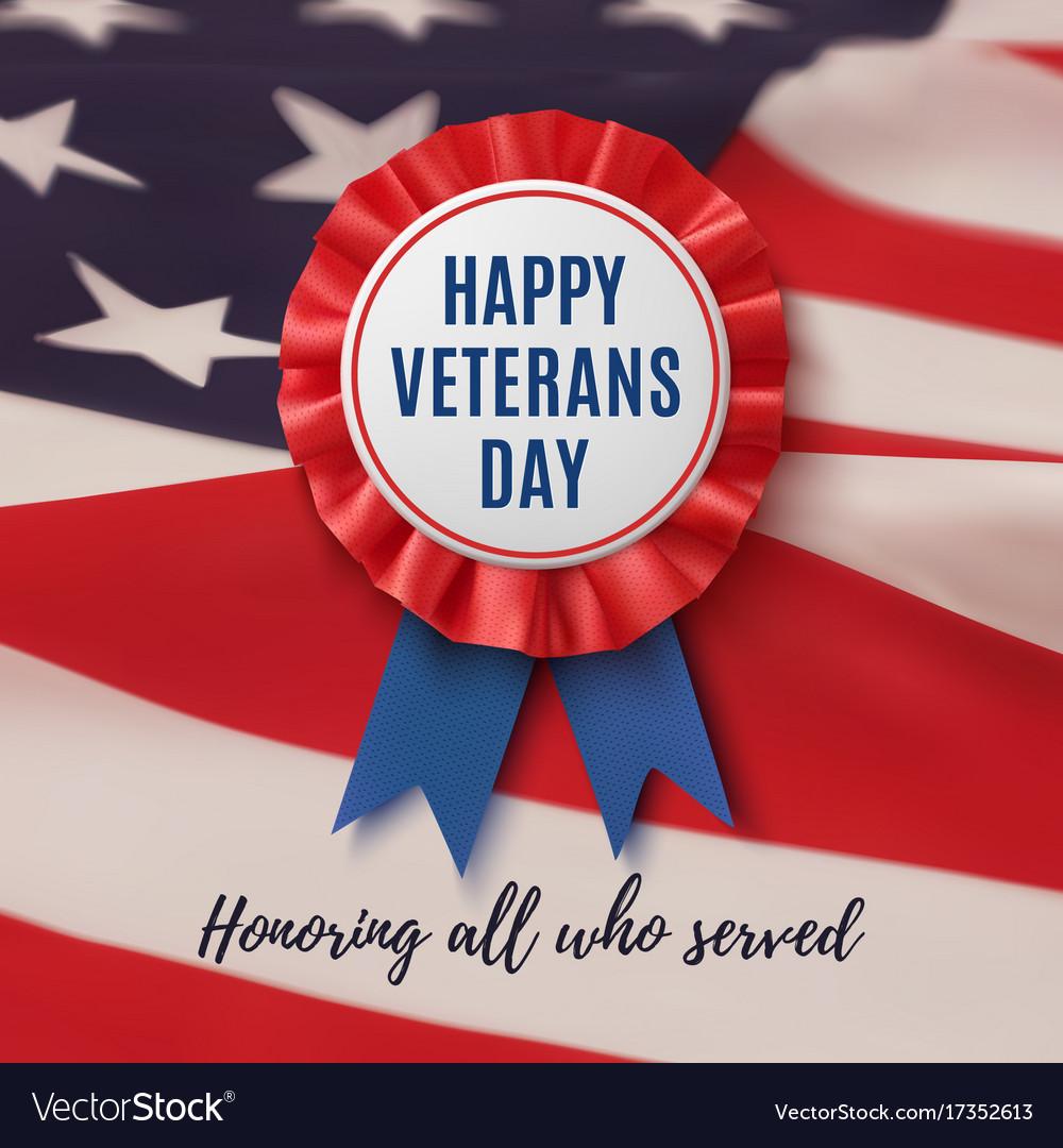 Happy veterans day patriotic background vector image