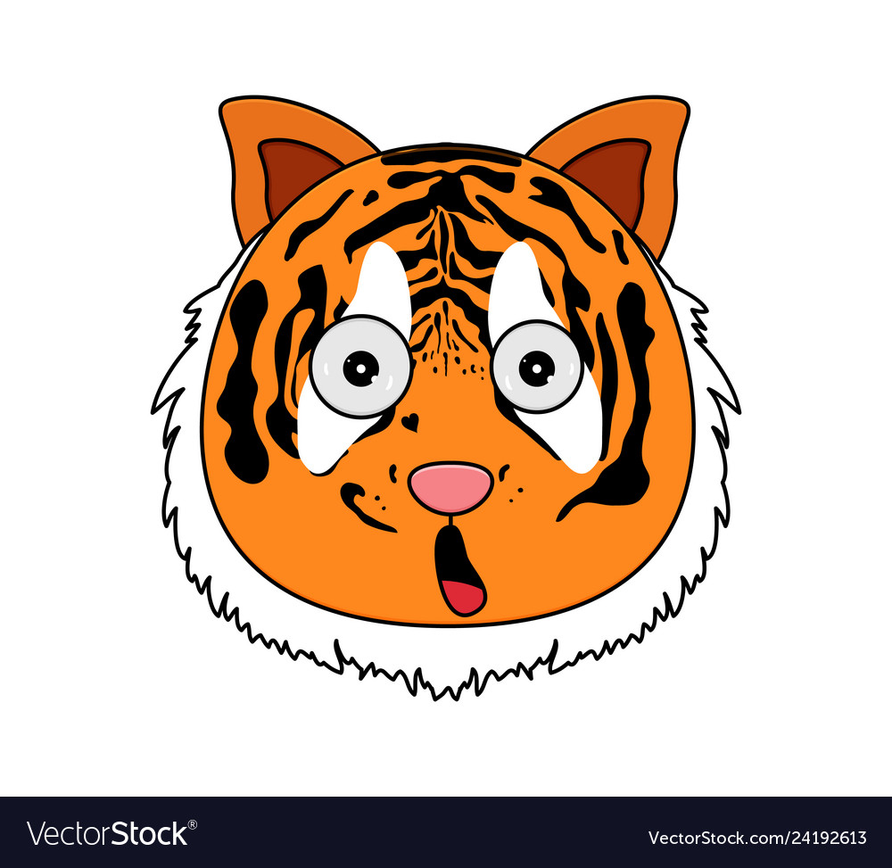 Head of tiger in cartoon style kawaii animal