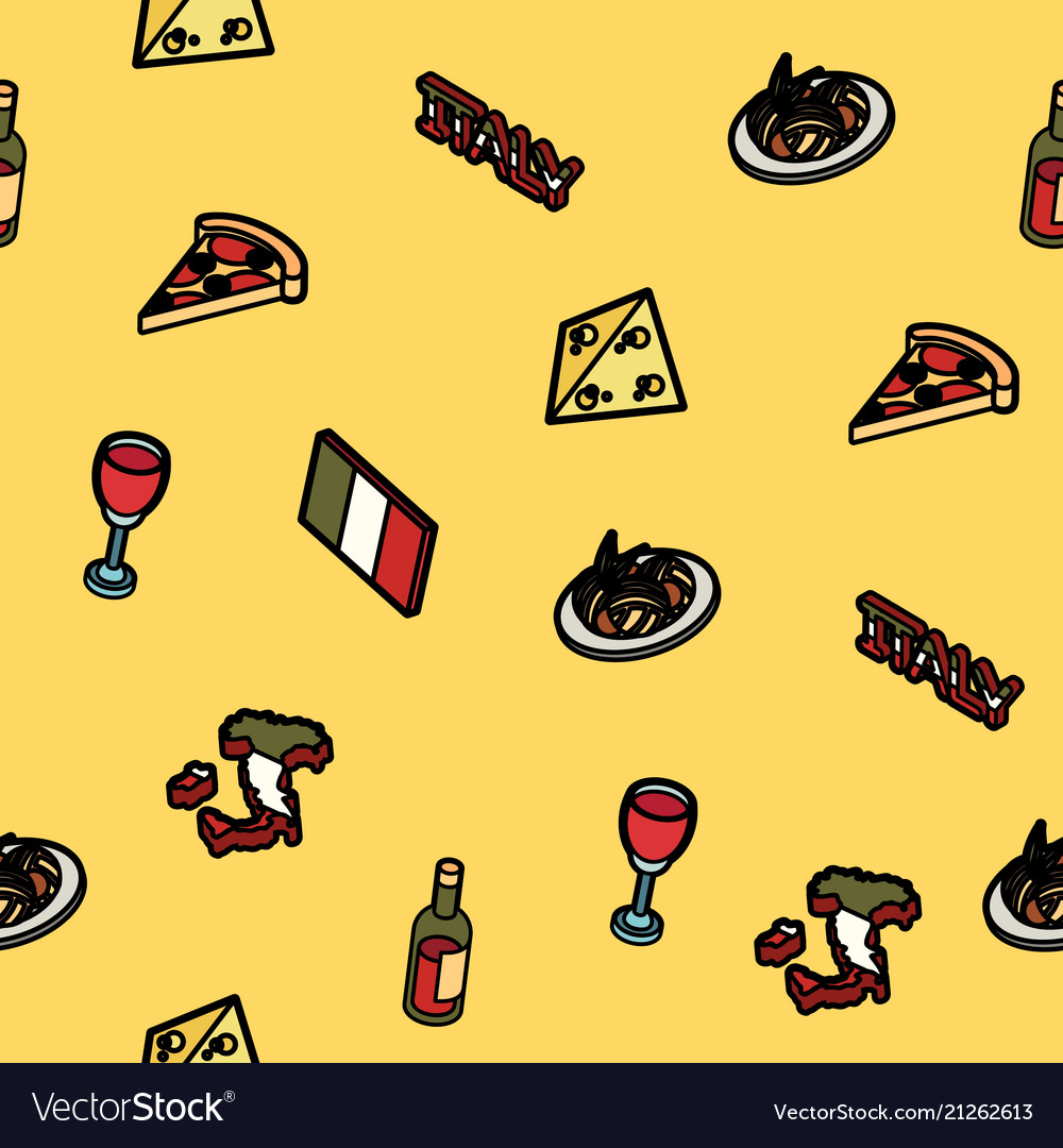 Italy color outline isometric pattern