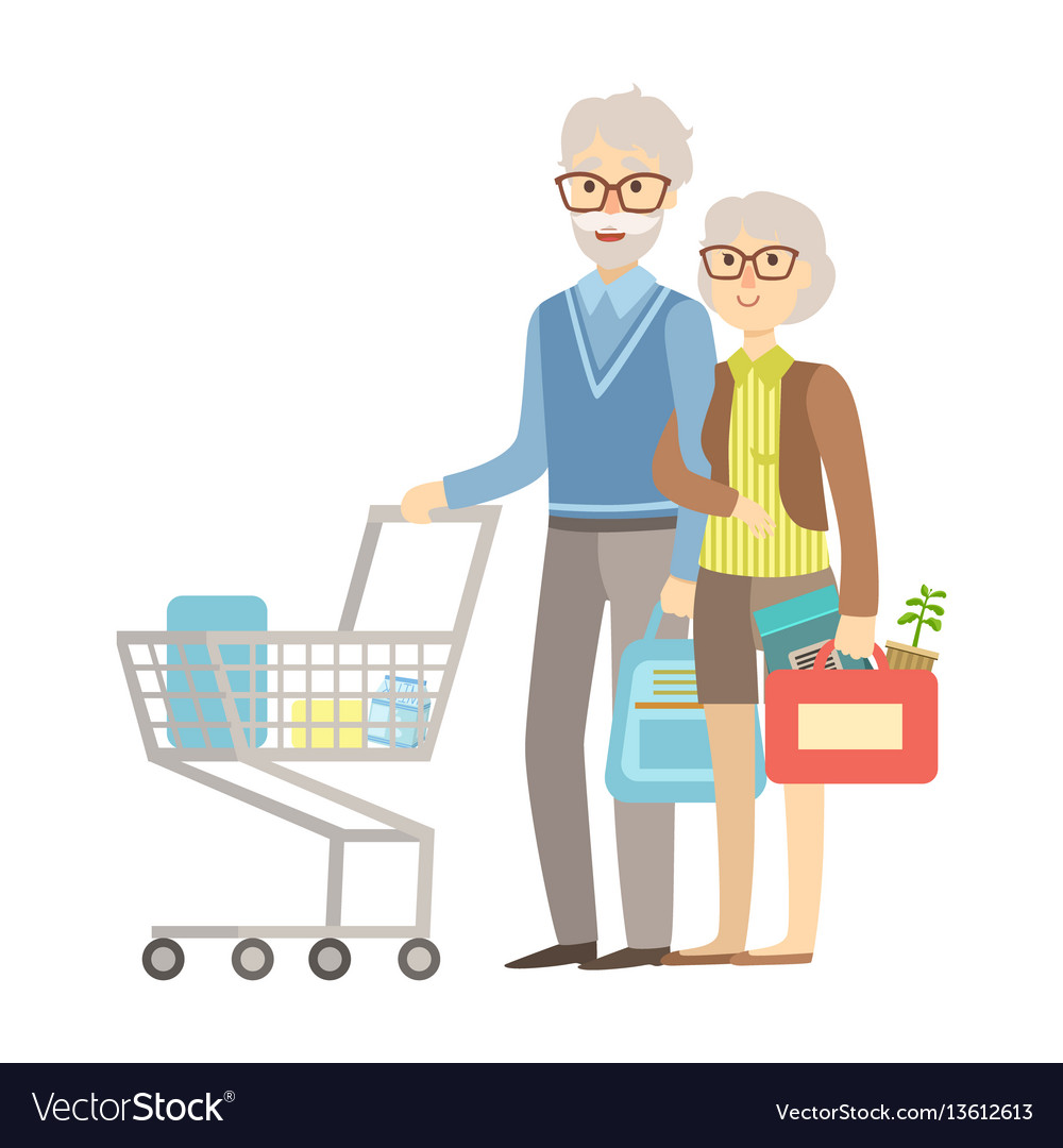 Old people couple shopping for groceries in