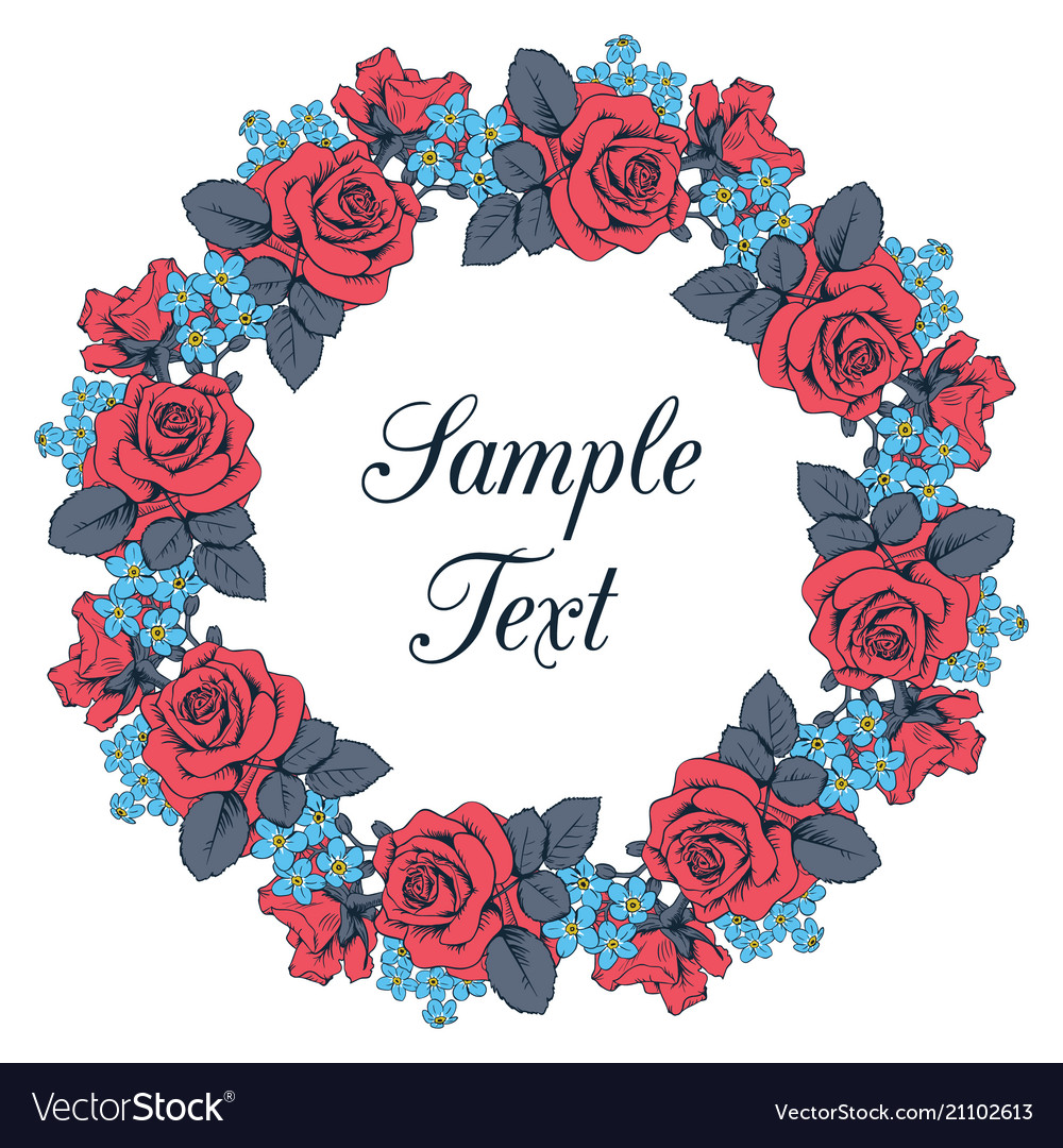Red roses and blue myosotis wreath on white vector