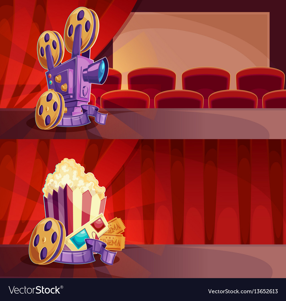 Set of cartoon banners with a cinema hall