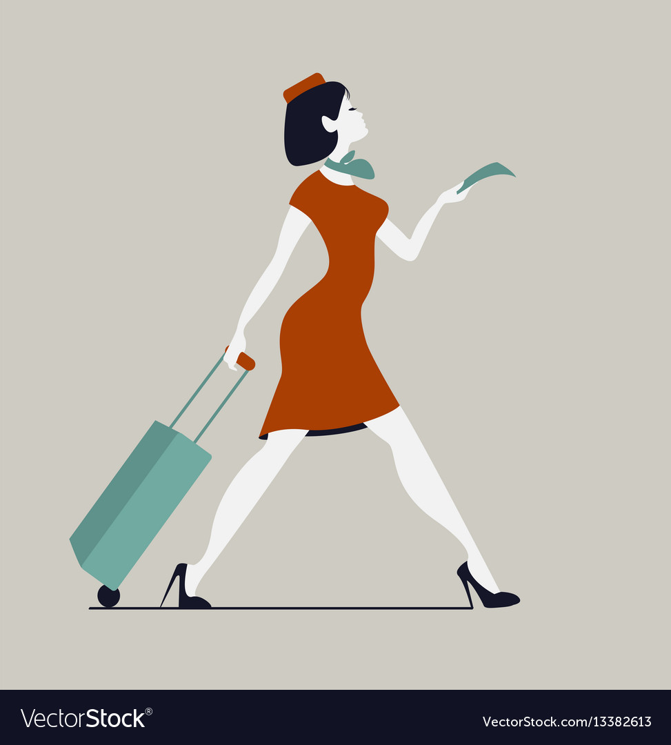 Stewardess with luggage woman with baggage and