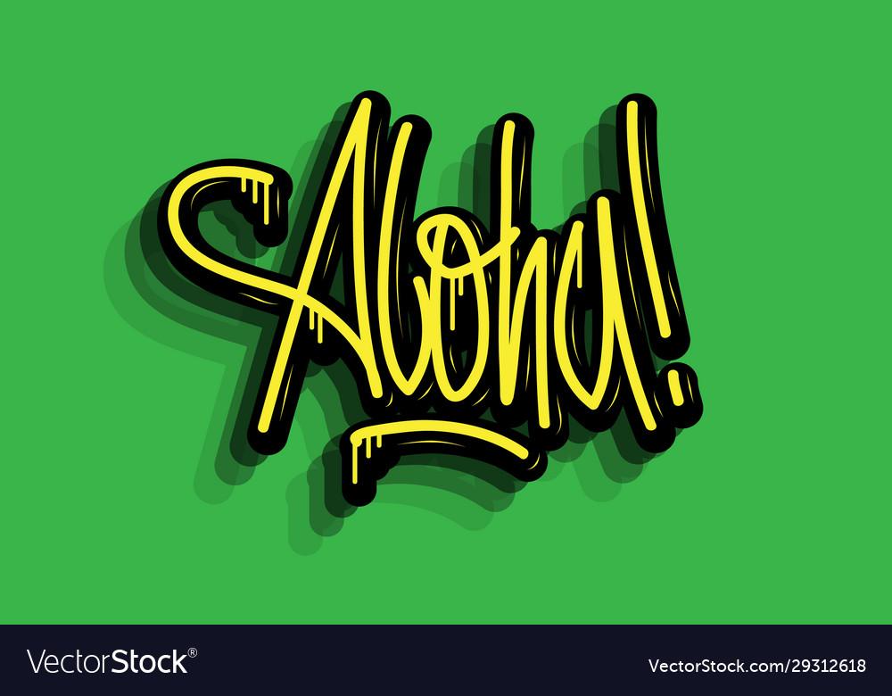 Aloha hand lettering calligraphic sticker