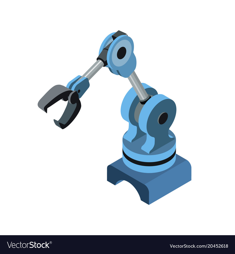 Automated robotic arm on blue