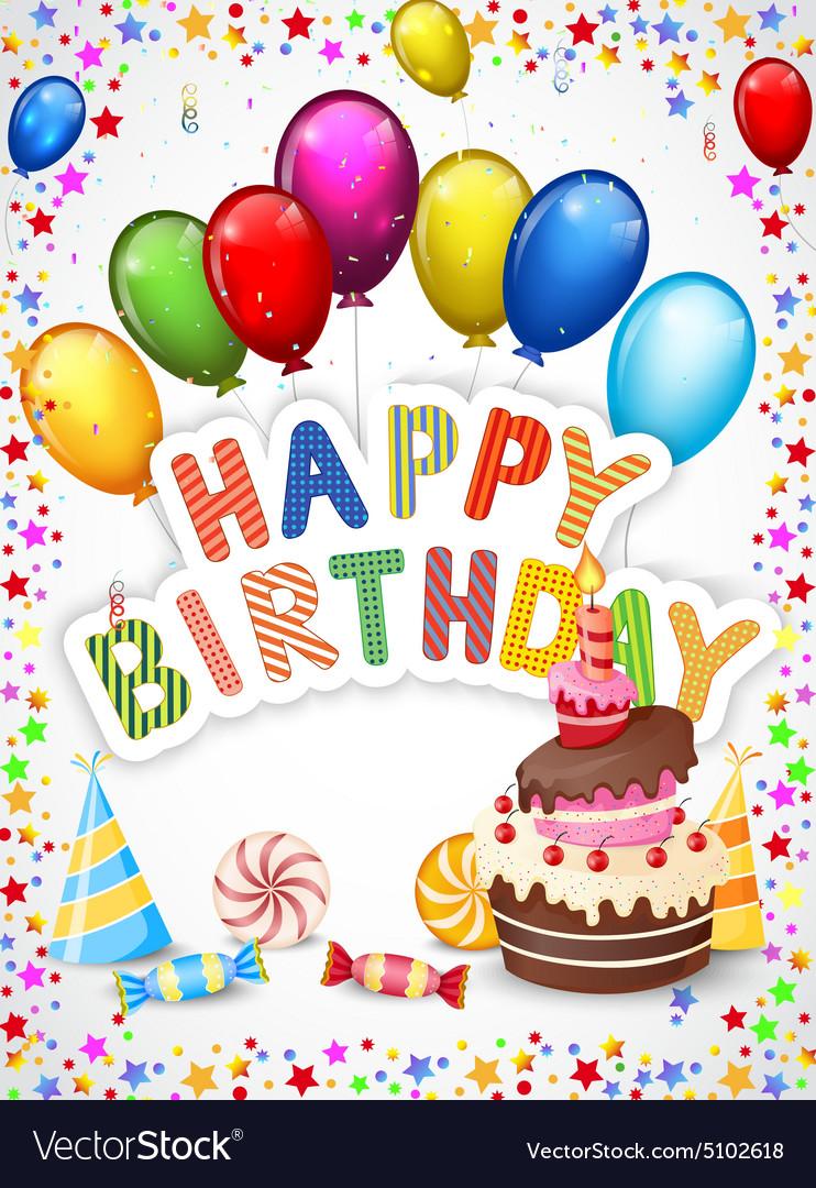 Birthday Background With Birthday Cake Royalty Free Vector