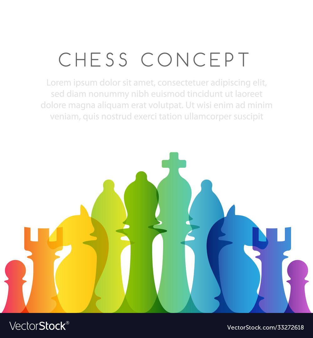 Chess colorful leadership or strategy conceptual