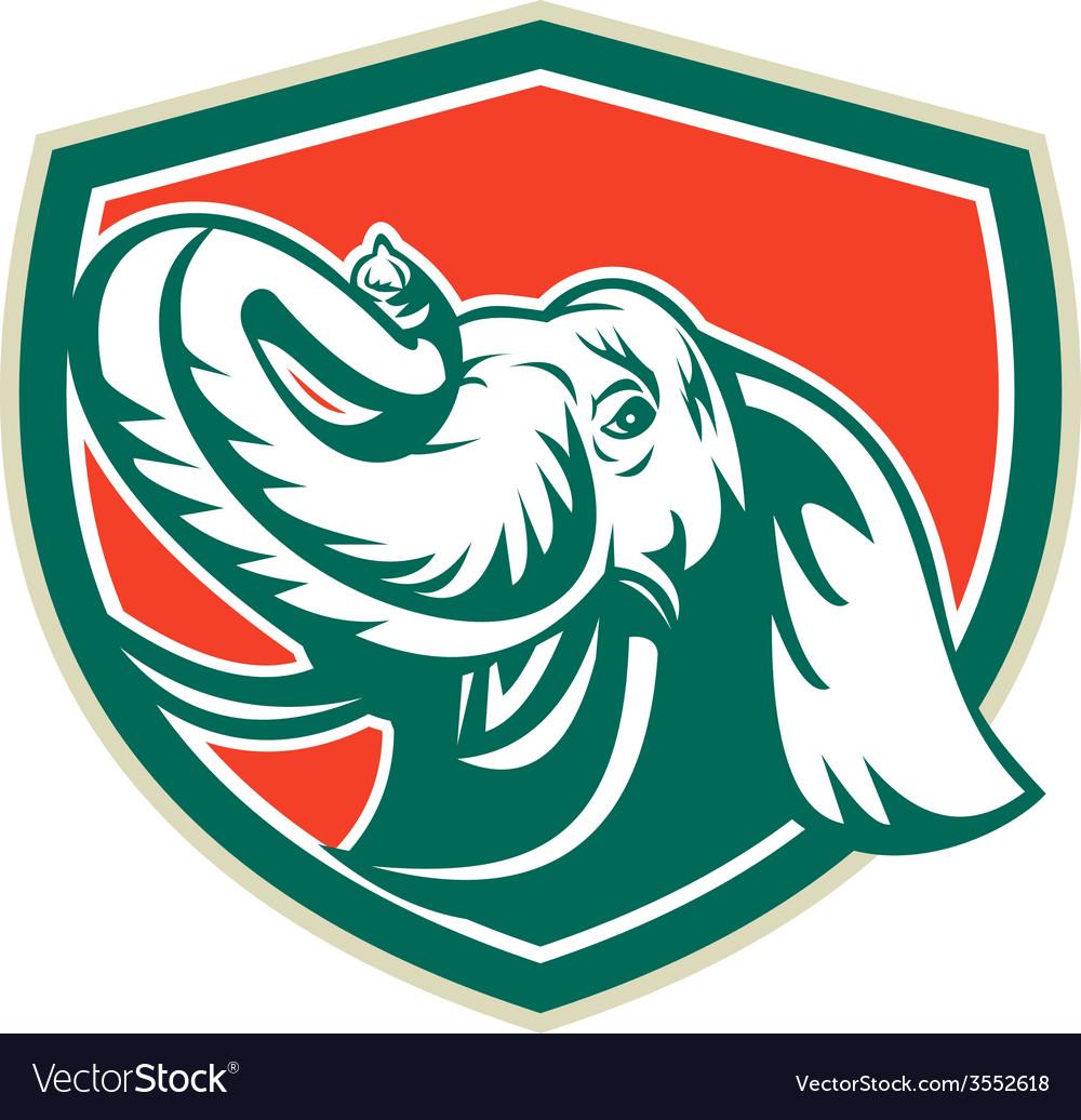 Elephant Head Tusk Shield Retro vector image