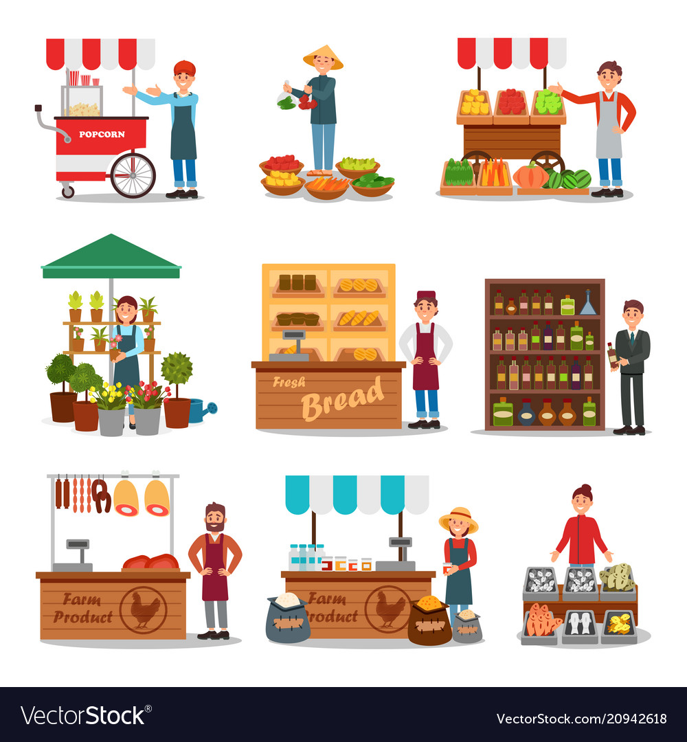 Flat set of street vendor selling various Vector Image