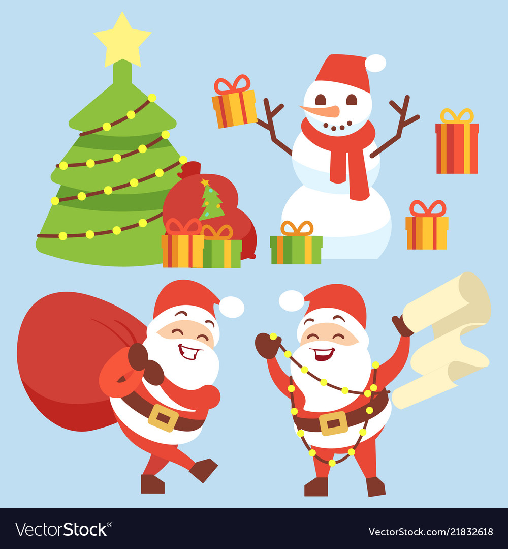 Happy santa claus flat character with gift bag