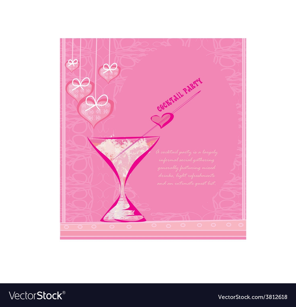 Invitation to valentine day cocktail party vector image stopboris Image collections