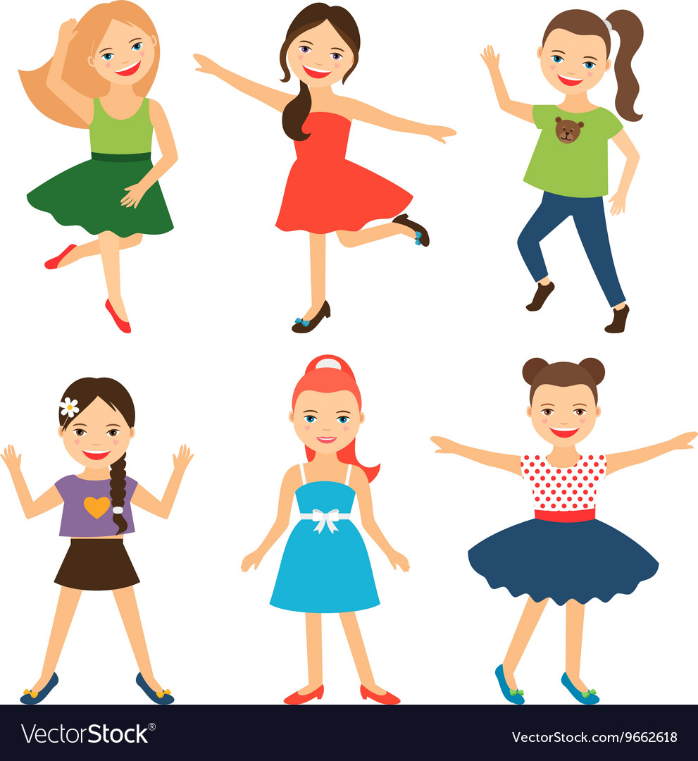 Little happy girl characters vector image