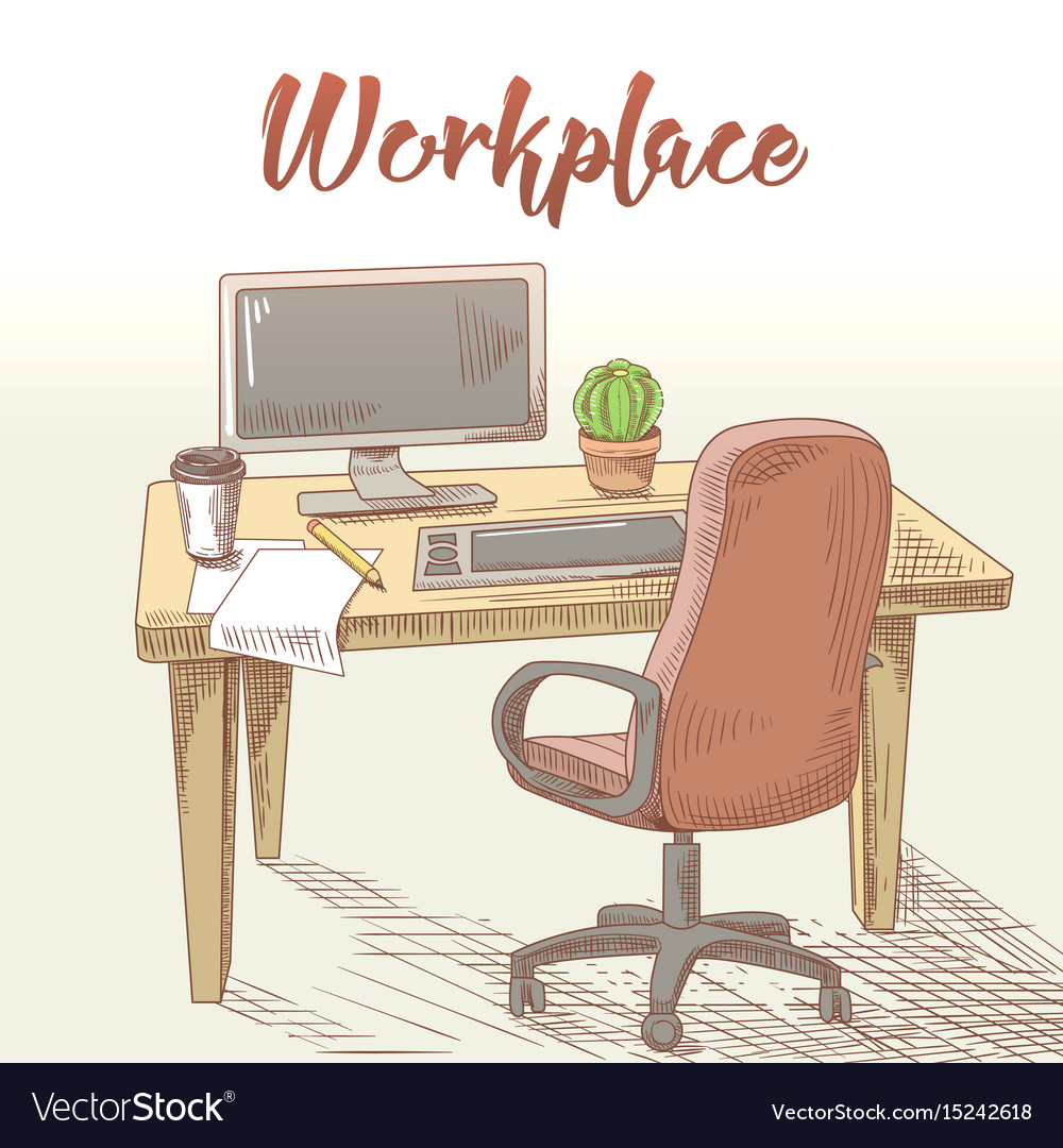 Professional graphic designer hand drawn workplace