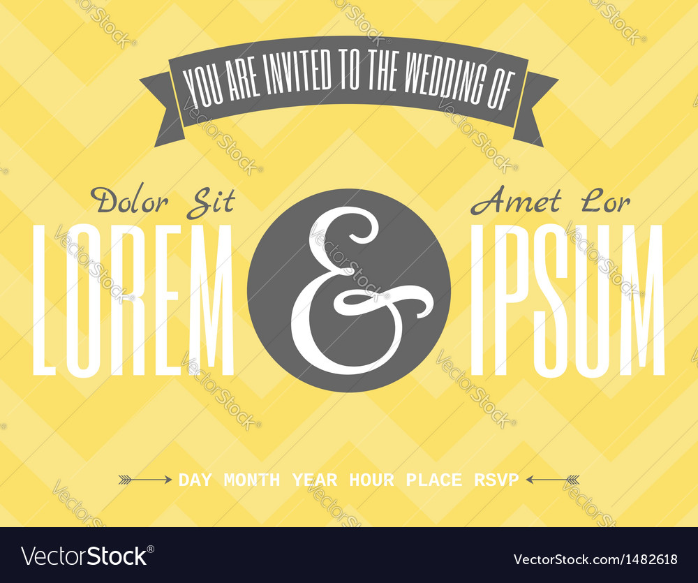 Retro design wedding invitation template vector image