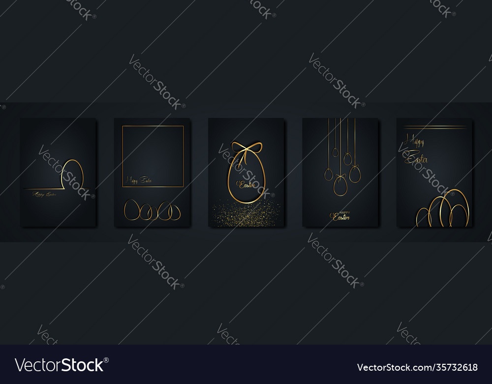 Set cards easter gold eggs luxury frame texture