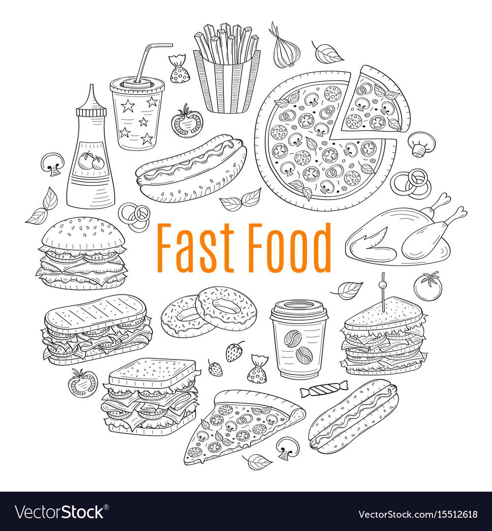 Sketch of fast food circular vector image