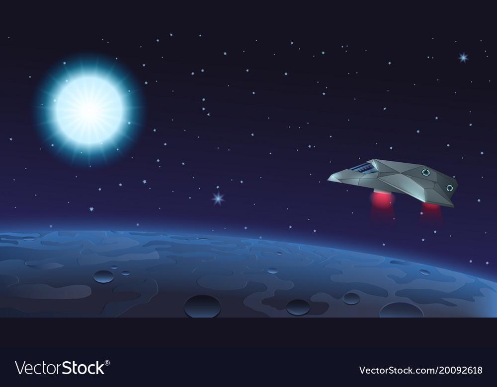 Spaceship flying over alien