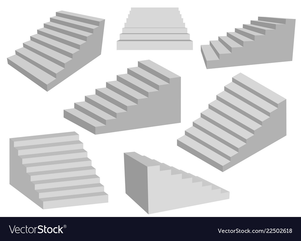 Staircases 3d interior gray stairs realistic