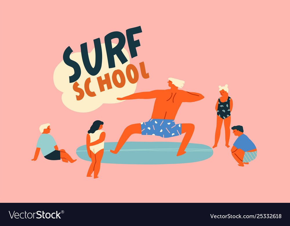 Surf school logo with funny character surfer