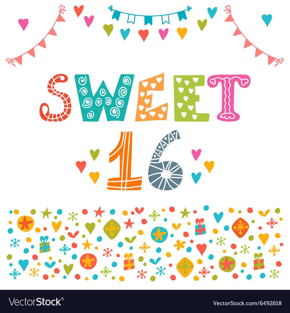 sweet sixteen invitation flyer template design vector image